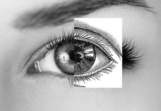 Half of a real eye joined to a sketch mimicking its natural appearance.